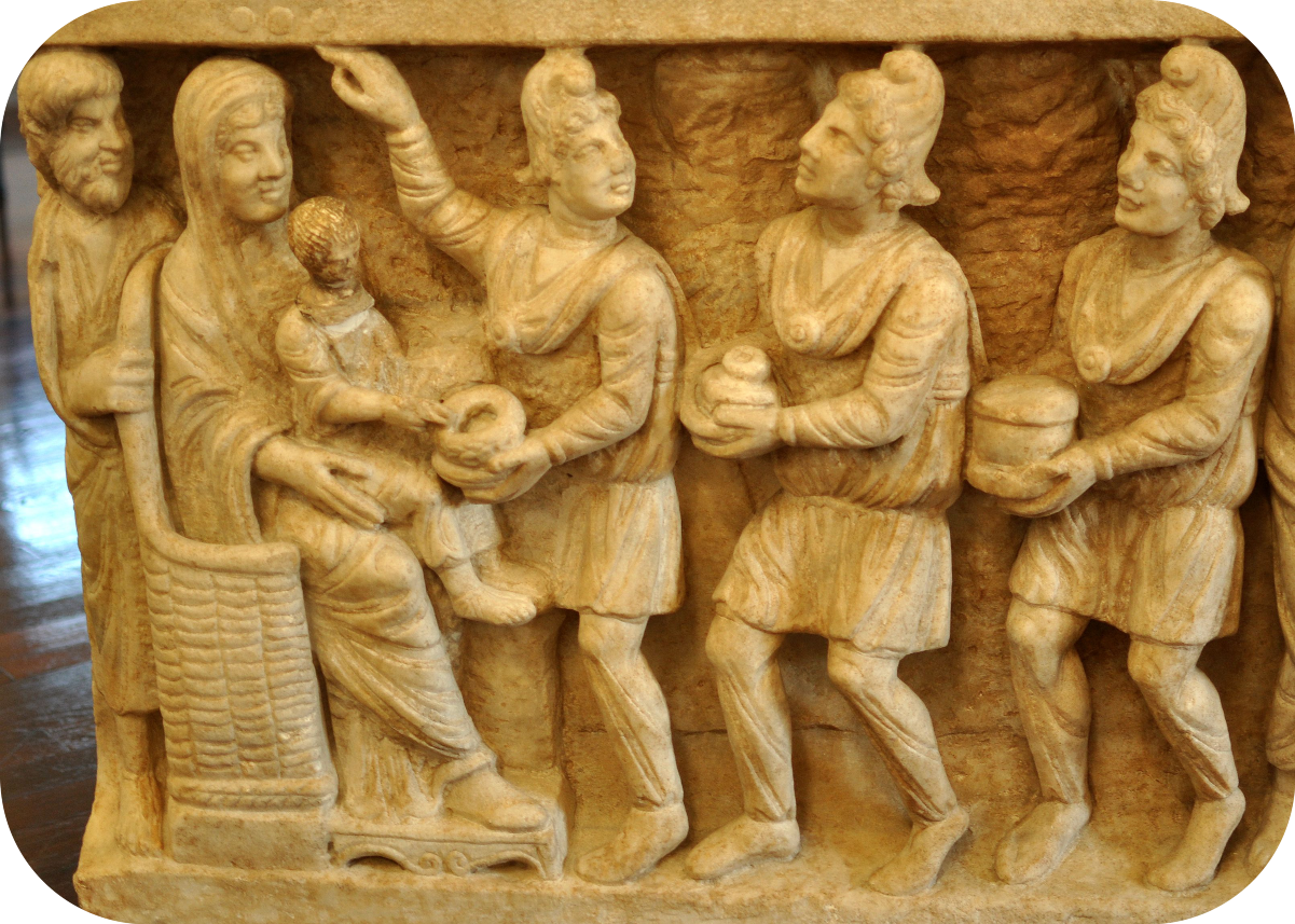 · Arte Paleocristiano · Paleochristian art · Sarcófago dogmático Detalle de la Adoración de los Magos · S.IV e.c. · Dogmatic Sarcophagus · The Dogmatic Sarcophagus: Detail, the adoration of the Magi